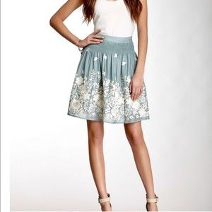 Anthropologie Skirts - Anthropology silk grey- blue skirt - Size 2